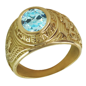 Bague américaine universitaire en or 9K - Aigue-marine