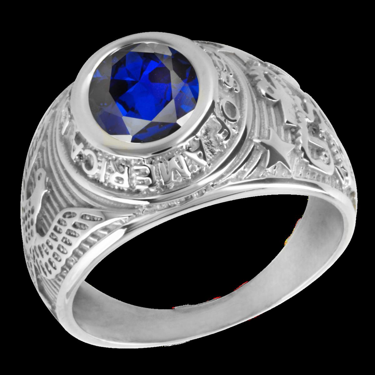 bague en argent avec saphir bleu